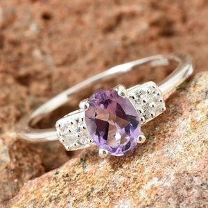 Rose De France Amethyst, Cambodian Zircon Ring